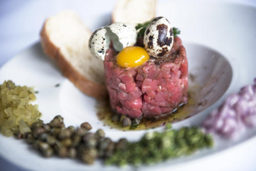 Prime steak tartare and quail eggs