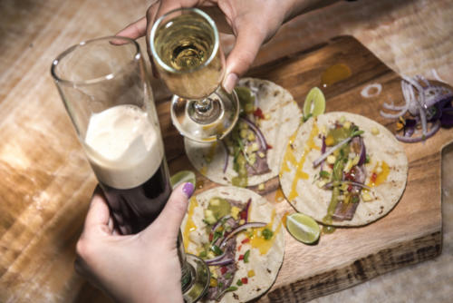 Happy hour | shrimp & short rib tacos